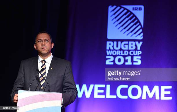 Oregen Hoskins Vice Chairman of World Rugby Rugby World Cup Director attends the South Africa 2015 World Cup team welcoming ceremony at the Winter...