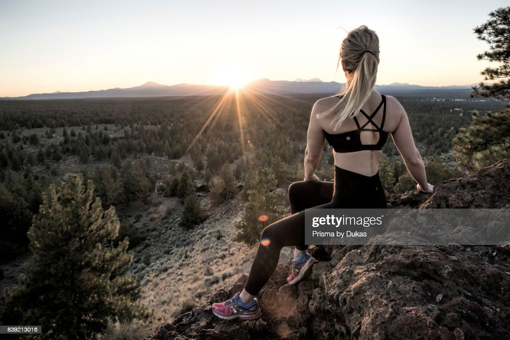 Oregon, Deschutes County, Bend, Woman on Horse Butte