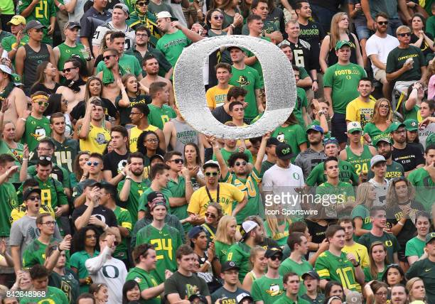 Oregon Ducks fans cheer on their team during a college football game between the Southern Utah Thunderbirds and Oregon Ducks on September 2 at Autzen...