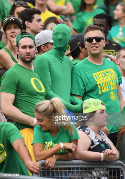 Oregon Ducks fans look up at the score board during a college football game between the Southern Utah Thunderbirds and Oregon Ducks on September 2 at...
