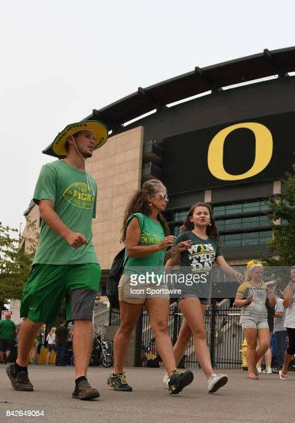 Oregon Ducks fans outside the stadium prior to the start of the game during a college football game between the Southern Utah Thunderbirds and Oregon...
