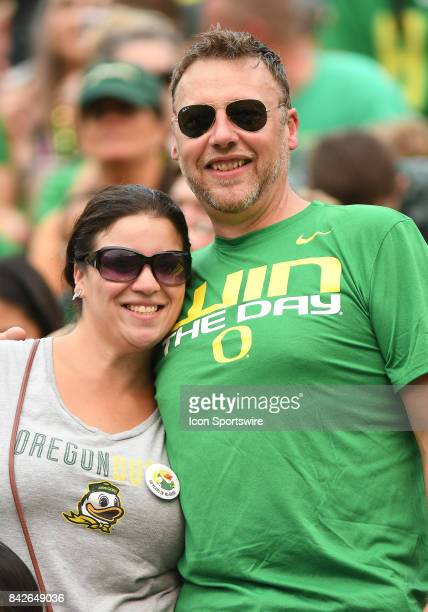 Oregon Ducks fans prior to the start of the game during a college football game between the Southern Utah Thunderbirds and Oregon Ducks on September...