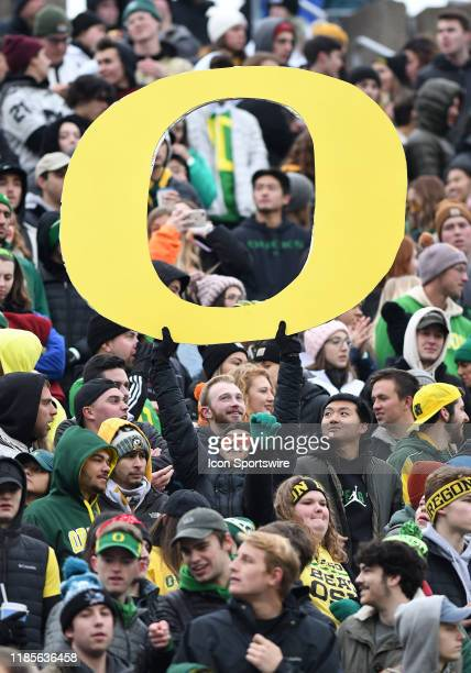 Oregon Ducks fans show their support during 123rd Civil War between the Oregon Ducks and Oregon State Beavers on November 30, 2019 at Autzen Stadium...