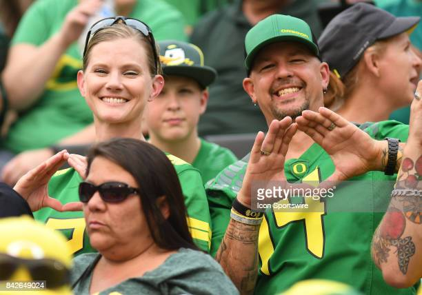 Oregon Ducks fans show their support during a college football game between the Southern Utah Thunderbirds and Oregon Ducks on September 2 at Autzen...