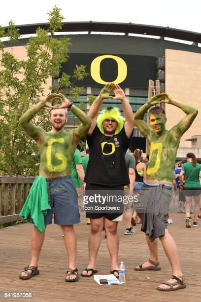 Oregon Ducks fans show their support prior to the start of the game during a college football game between the Southern Utah Thunderbirds and Oregon...