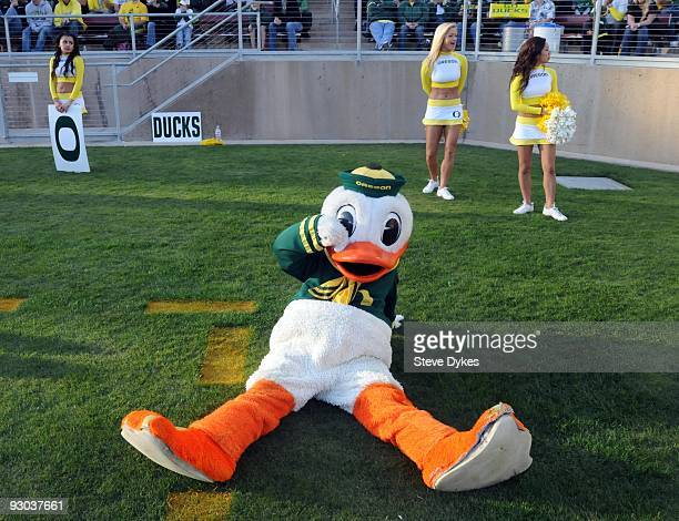 Oregon Ducks mascot Puddles the Duck wipes a tear from his face as time runs down during the Ducks loss to the Stanford Cardinal at Stanford Stadium...