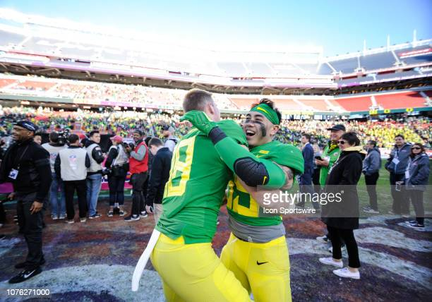 Oregon Ducks players celebrate after the Redbox Bowl game between the Oregon Ducks and the Michigan State Spartans on December 31 at Levi's Stadium...