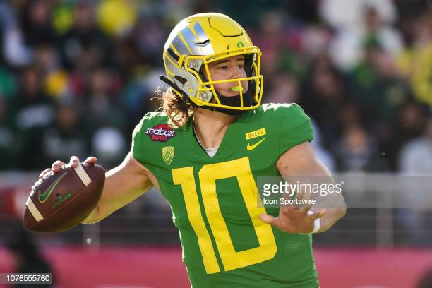 Oregon Ducks Quarterback Justin Herbert during the Redbox Bowl between the Michigan State Spartans and the Oregon Ducks at Levi's Stadium on December...