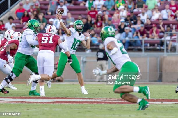 Oregon Ducks quarterback Justin Herbert throws the ball downfield during the college football game between the Oregon Ducks and Stanford Cardinal on...