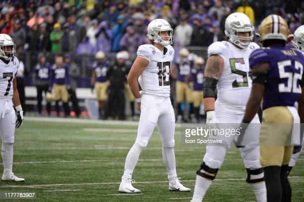 Oregon Ducks quarterback Justin Herbert waits for the referee whistle during a PAC12 Conference game between the Washington Huskies and the Oregon...