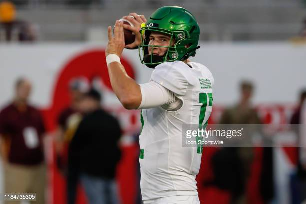 Oregon Ducks quarterback Tyler Shough throws a pass before the college football game between the Oregon Ducks and the Arizona State Sun Devils on...