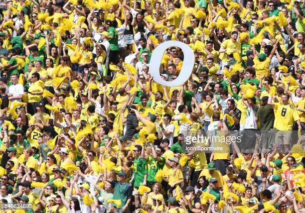 Oregon fans cheer during a college football game between the Nebraska Cornhuskers and Oregon Ducks on September 9 at Autzen Stadium in Eugene OR