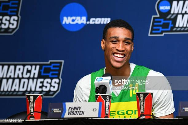 Oregon forward Kenny Wooten speaks to the media during a press conference during the practice day before their NCAA Division I Men's Basketball...
