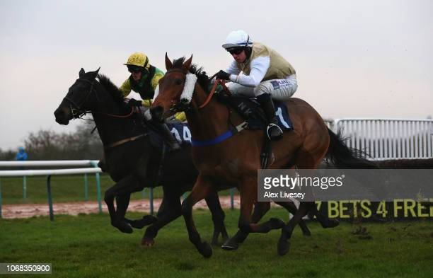 Oregon Gold ridden by Charlie Hammond clears the last fence on their way to victory in The Bet At toalscom Handicap Hurdle Race during The Bet At...