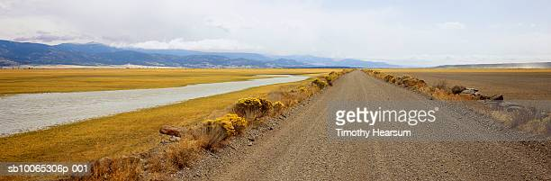 usa, oregon, goose lake causeway with blooming chamisa (chrysothamnus nauseosus) at roadside - timothy hearsum stock photos and pictures