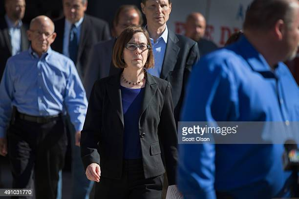 Oregon governor Kate Brown arrives for a press conference where she addressed the mass shooting at Umpqua Community College on October 2 2015 in...