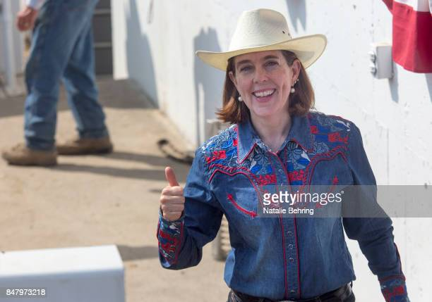 Oregon Governor Kate Brown attends the Pendleton RoundUp on September 15 2017 in Pendleton Oregon The Pendleton RoundUp is a major annual rodeo...