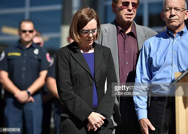 Oregon Governor Kate Brown listens during a press conference in Roseburg Oregon on October 2 2015 As police and mourners groped for answers in the...