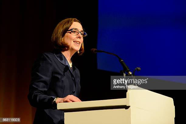 Oregon Governor Kate Brown speaks on Stage at the Oregon Consular Corps Celebrate Trade Gala at the Portland Art Museum in Portland Oregon USA on...