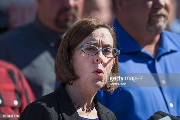 Oregon governor Kate Brown speaks to the press about the mass shooting at Umpqua Community College on October 2, 2015 in Roseburg, Oregon. Yesterday...