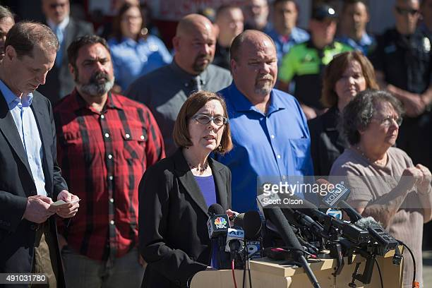 Oregon governor Kate Brown speaks to the press about the mass shooting at Umpqua Community College on October 2 2015 in Roseburg Oregon Yesterday...