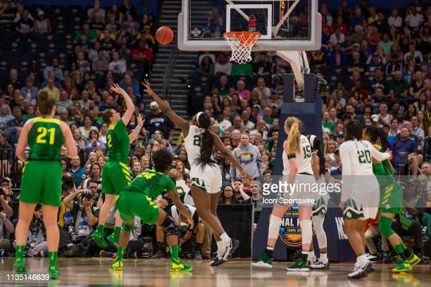 Oregon guard Morgan Yaeger attempts a shot in 2019 NCAA Women's Division I Championship Final Four game between the Oregon Ducks and the Baylor Bears...