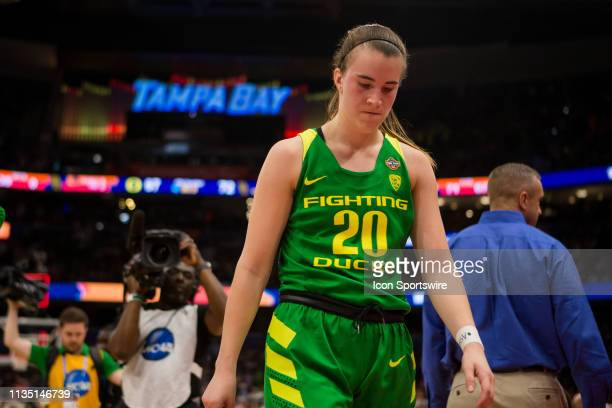 Oregon guard Sabrina Ionescu walks off the court after losing the 2019 NCAA Women's Division I Championship Final Four game between the Oregon Ducks...