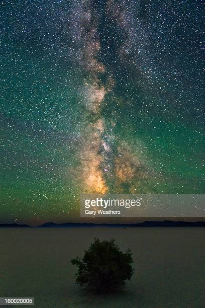 USA, Oregon, Harney County, Milky Way over landscape at night