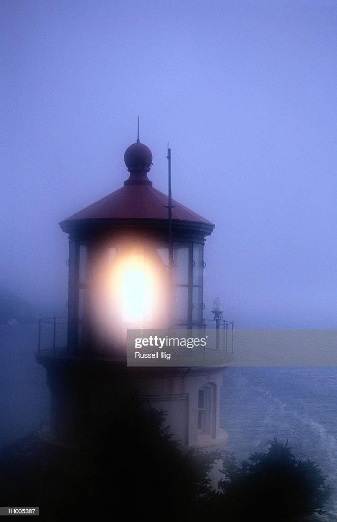 Usa Oregon Heceta Head Lighthouse Beacon Shining Night Stock Photo