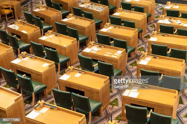 oregon house of representatives chamber at state capitol desk chairs - oregon us state stock pictures, royalty-free photos & images