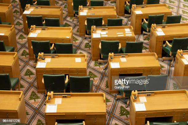 Oregon House of Representatives Chamber at State Capitol Desks Chairs