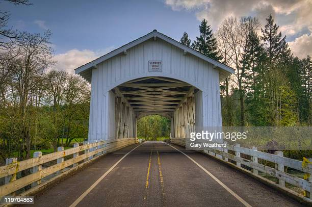 usa, oregon, linn county, larwood bridge - covered bridge stock pictures, royalty-free photos & images