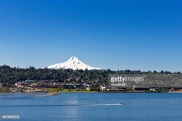 usa, oregon, mount hood, columbia river and city hood river - hood river stock pictures, royalty-free photos & images