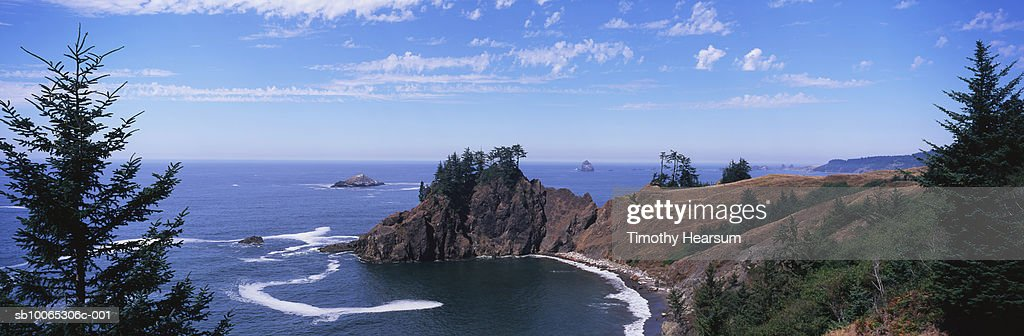 USA, Oregon, near Charleston, rocky tree-covered point with waves coming in : Foto stock