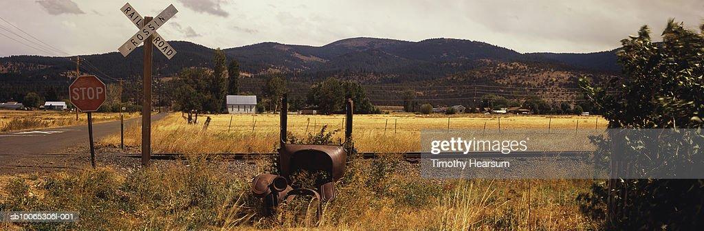 USA, Oregon, near Lakeview, landscape near railroad : Foto stock