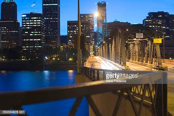 usa, oregon, portland, hawthorne bridge over williamette river, night - willamette river stock photos and pictures
