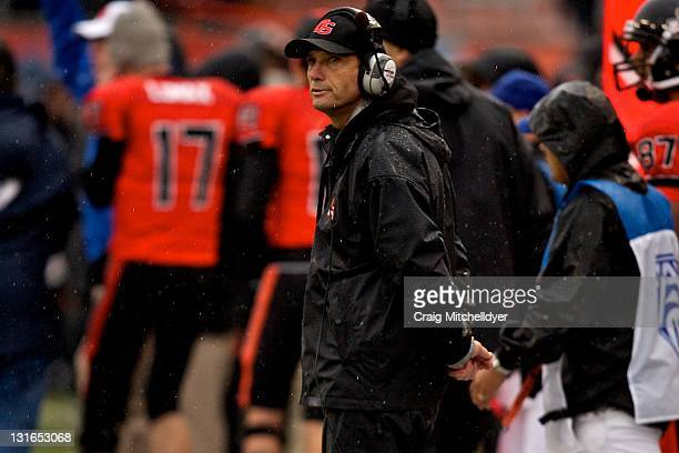 Oregon State Beavers head coach Mike Riley looks at the scoreboard during the game against the Oregon State Beavers on November 5, 2011 at Reser...