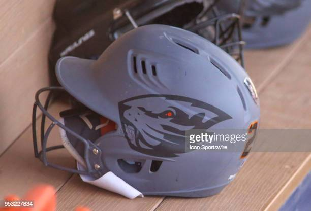 Oregon State Beavers helmet during a college softball game between the Oregon State Beavers and the Arizona Wildcats on April 29 at Hillenbrand...