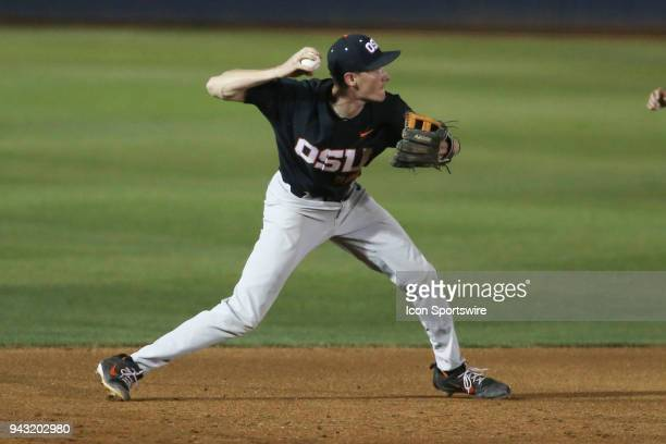 Oregon State Beavers infielder Andy Armstrong throws the ball during a college baseball game between Oregon State Beavers and the Arizona Wildcats on...