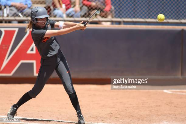 Oregon State Beavers outfielder Chance Burden hits the ball during a college softball game between the Oregon State Beavers and the Arizona Wildcats...