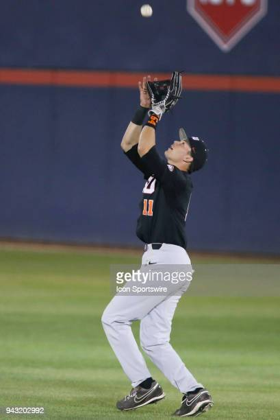 Oregon State Beavers outfielder Trevor Larnach catches the ball during a college baseball game between Oregon State Beavers and the Arizona Wildcats...