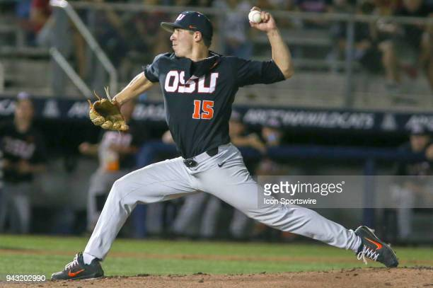 Oregon State Beavers pitcher Luke Heimlich pitches during a college baseball game between Oregon State Beavers and the Arizona Wildcats on April 07...