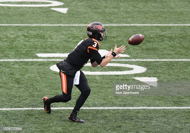 Oregon State Beavers QB Tristan Gebbia receives a pass of a reverse play during a PAC-12 conference football game between the Cal Bears and Oregon...
