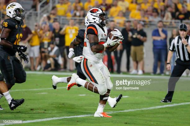 Oregon State Beavers running back Jermar Jefferson runs for a touchdown during the college football game between the Oregon State Beavers and the...