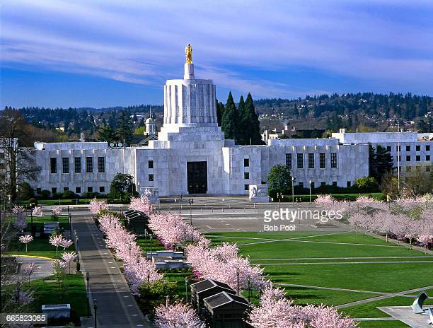 Oregon State capitol building with blossoms