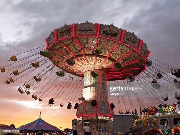 Oregon State Fair Amusement Ride Wave Swinger Chair Sunset