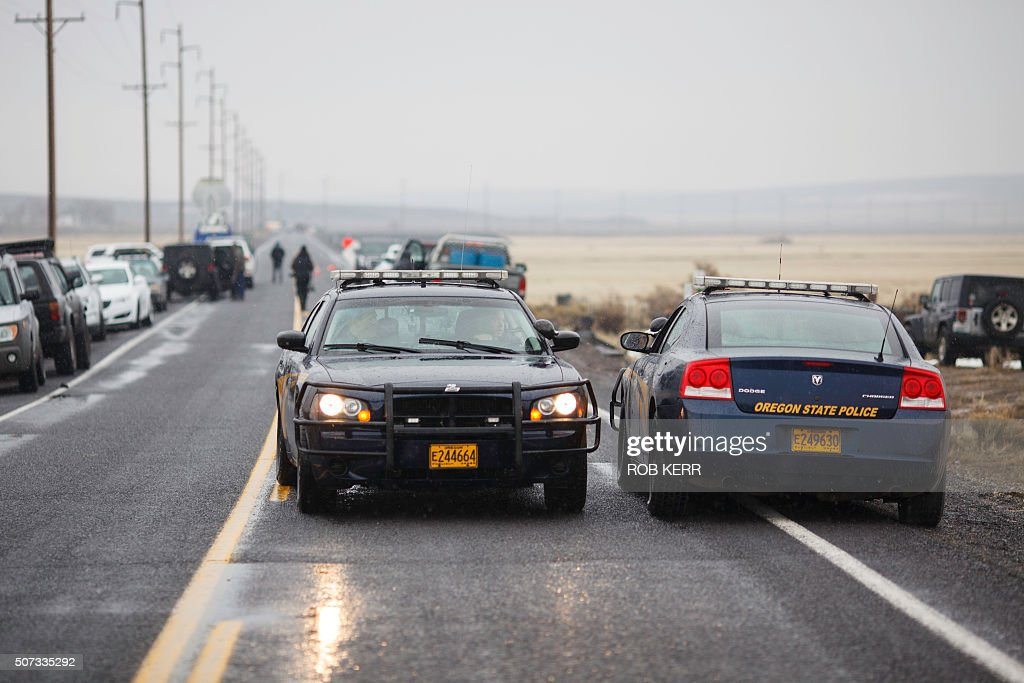 Oregon State Police monitor stopped traffic on Highway 78 located