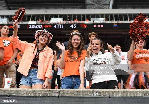 Oregon State students show their support during a college football game between the Cal Poly Mustangs and Oregon State Beavers at Reser Stadium in...