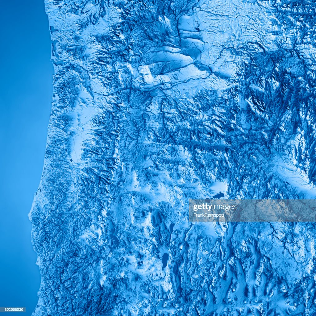 Oregon State Usa 3d Render Topographic Map Blue Stock Photo Getty