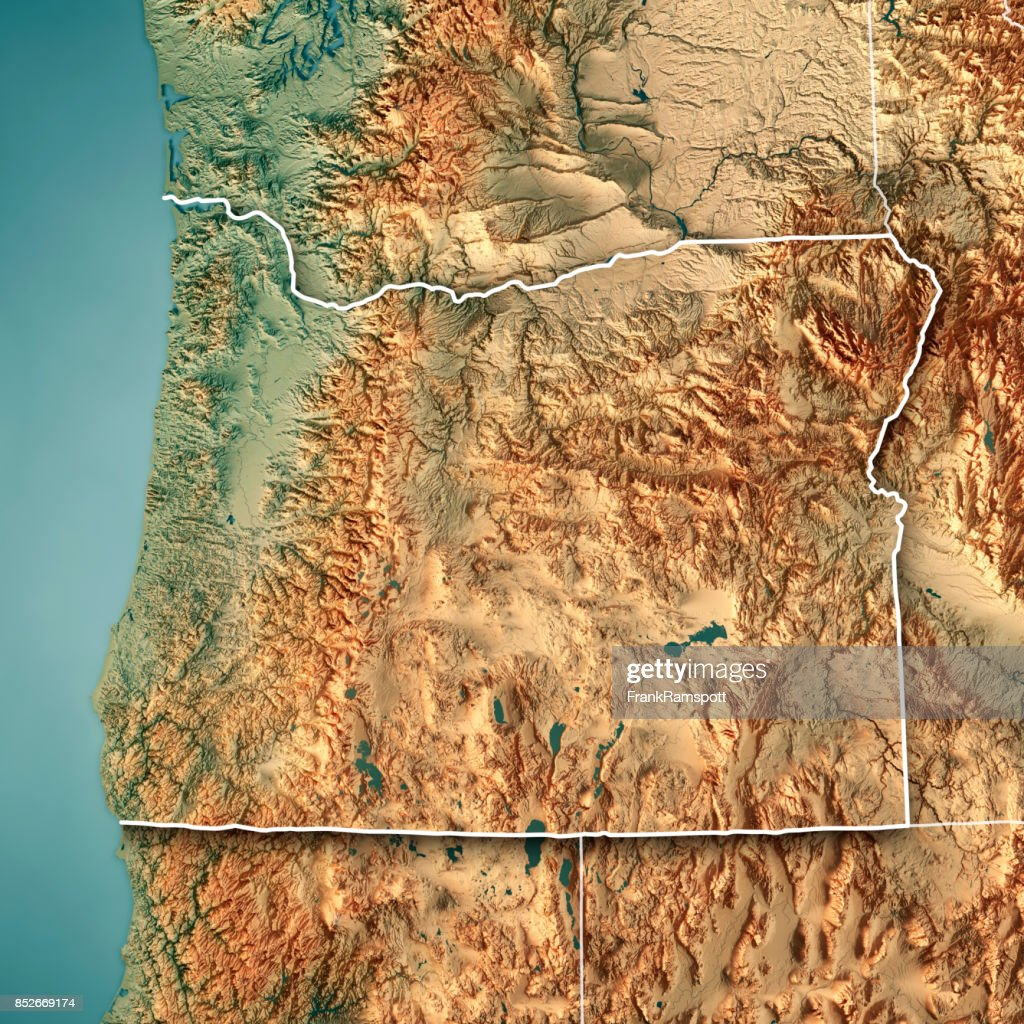 Oregon State Usa 3d Render Topographic Map Border Stock Photo